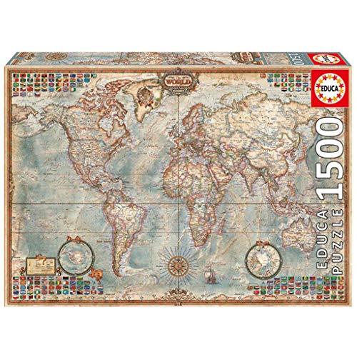 Toy 1500 Piezas Mapa del Mundo Antiguo Rompecabezas Juguetes Educativos Juguetes De Alta Dificultad Rompecabezas Educativo para Niños/Adultos Regalo De Cumpleaños 85 * 60cm