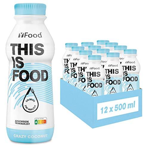 YFood Cocco, Pasto Pronto da Bere | Pasti Sostitutivi senza Glutine e senza Lattosio | 33 g di Proteine, 26 Vitamine e Minerali |25% del Fabbisogno Calorico Giornaliero | 12 x 500 ml (1 kcal/ml)