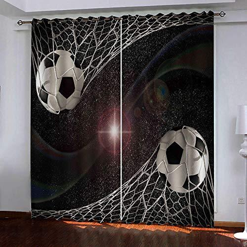 nobrand 3D Kinderzimmer Verdunkelungsvorhänge Fußball,Polyester Vorhänge Für Schlafzimmer Kinderzimmer Wohnzimmerdekoration150X166Cm