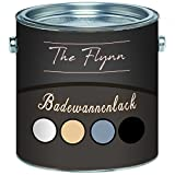 The Flynn - Juego de pintura para bañera, 2 componentes, color blanco, gris, negro y beige, Blanco