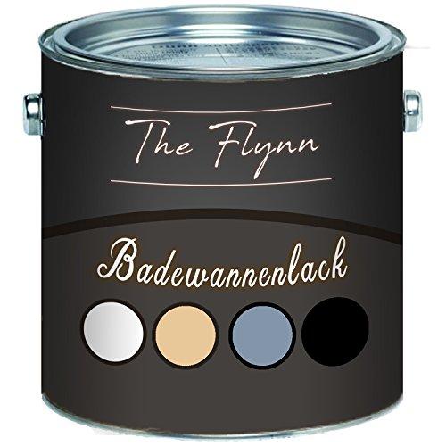The Flynn Badewannenlack SET hochwertige Badewannenbeschichtung in Weiß, Grau, Schwarz und Beige 2 Komponenten glänzend (2,5 L, Weiß)