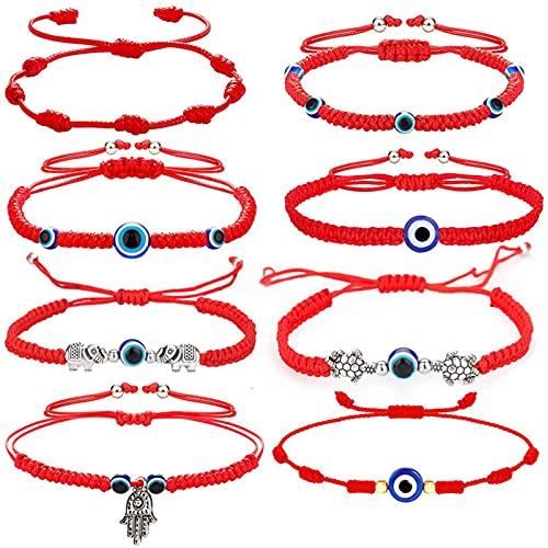 libelyef 10 pulseras de cuerda, pulseras ajustables tejidas a mano, color rojo, pulsera de la suerte, para familiares, amigos, madres, hijas, parejas
