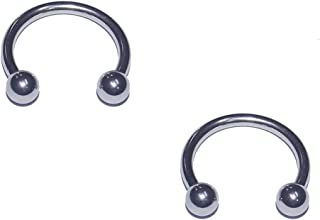 2x Pieces 14 16 18 Gauge 14g 16g 18g 316L Stainless Steel Circular Barbell Horseshoe Septum Nipple Tragus Ring Earring Piercing Body Jewelry 1/4 5/16 3/8 7/16 1/2 9/16 5/8 3/4 Inch Set of 2