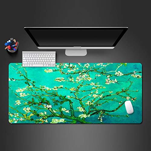 LJUKO Alfombrilla Grande Gaming Planta De Flor Verde 1000x500mm Alfombrilla para ratón Gaming Mouse Pad Mejora precisión y Velocidad - Superficie Inferior de Goma para Ratón y Teclado