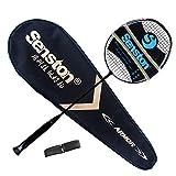 Senston N80 100% Grafito Raqueta de bádminton Unisex,Badminton Racket de Fibra,Incluyendo 1 Raquetas /1 bádminton Bolsa /1 Sobregrip