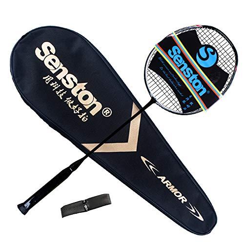 Senston N80 Grafite Singola Racchetta per Il Badminton di Alta qualità Racchetta per Badminton in Carbonio al 100%, Inclusa Borsa per Badminton
