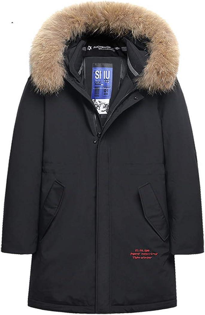 Michealboy Men's Down Alternative Casual Jacket Thicken Fur Hooded Mid Long Regular Fit Parka Coat