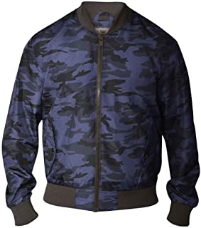 D555 by Duke Mens Camouflage Bomber Jacket MA1 Lined, Blue/Black (S-XXL)