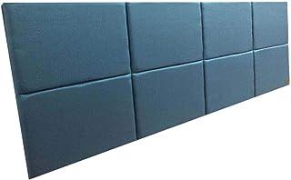Cabeceira Estofada King Bloco Alce Couch Linho Turquesa 195cm