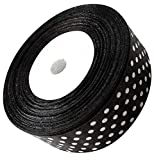 Ribbon 1 inch Black with White Pink Polka Dots Ribbons for Crafts Gift Ribbon Satin Red Solid Ribbon Roll 1 in x 25 Yards