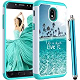 Voanice for Samsung Galaxy J3 Orbit Case /J3 Star /J3 Achieve/J3 2018/J3 V 3rd Gen/Express Prime 3/Amp Prime 3,Heavy Duty Hybrid Shockproof Protective Phone Hard Cover Women Girls Men&Stylus-Teal Sea