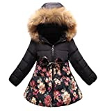 SS&CC Girls' Long Flower Printing Bowknot Winter Hooded Down Jacket (Black, 8-9 Years)