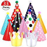 33 Pieces Birthday Party Hats Cone Hats Paper Crown Hat Fun Cone Hats Set for Kids Adults Art Craft Party Accessories