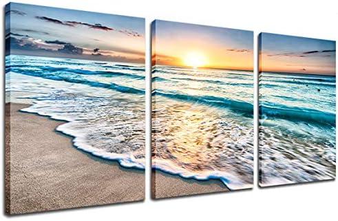 Beach Canvas Sunset Wall Art Ocean Wave Wall Decor Sand White Beach 3 Piece Seascape Prints product image