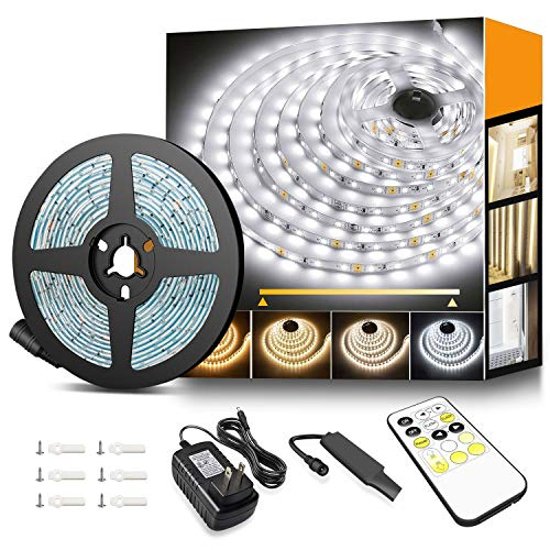 Tunable White LED Strip Lights with RF Remote, 600 LEDs Vanity Lights 3000K-6500K White Lights for Mirrors, TVs, Under The Cabinets, Desks, 16.4ft LED Tape Light for Home, Kitchen, Christmas and More