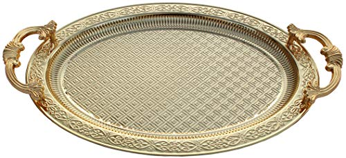 BAYKUL Turkish Ottoman Coffee Tea Beverage Gold Serving Oval Tray Luxury Metal Chrom Moroccan Decorative Breakfast Dinner Table Ottoman Trays Extra Large Gold