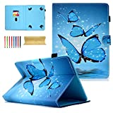 Dteck - Funda universal para Apple iPad, Samsung Galaxy, Huawei, Asus, Dell, HP, LG G Pad, KOBO, RCA, Google, Prestige Pro-Hisense y más Andriod Windows Tablet 01 Blue Butterfly For 9-10.1 inch tablet