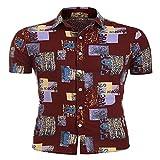 LSSM Camisa Estampada Casual De Manga Corta para Hombre De Verano Manga Corta Bolsillo Delantero ImpresióN De Hawaii Camisa Oxford De Manga Corta De Corte Recto para Camisa C907 M