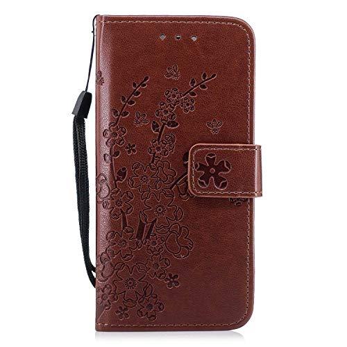 Galaxy S6 Hülle, Bear Village® Ständer Funktion Schutzhülle mit Geldfach und Kartenfach, Leder Brieftasche Flip Hülle für Samsung Galaxy S6 (#5 Braun)