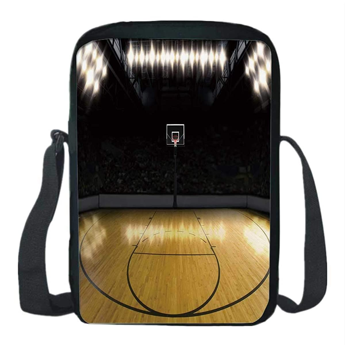 Teen Room Decor Print Kids Crossbody Messenger Bag,Empty Basketball Arena Competition Game Win Champion Success Theme for Boys,9''H x 6''L x 2''W