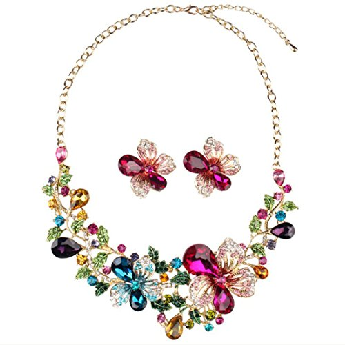 Yuhuan Women Costume Jewelry Crystal Statement Necklace and Earrings Sets Chunky Jewelry Set (Style1)