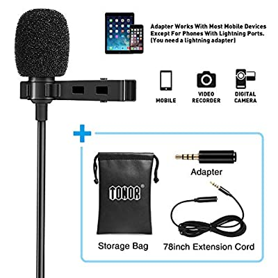 TONOR Lavalier Microphone Lapel Omnidirectional Mic with Easy Clip On System