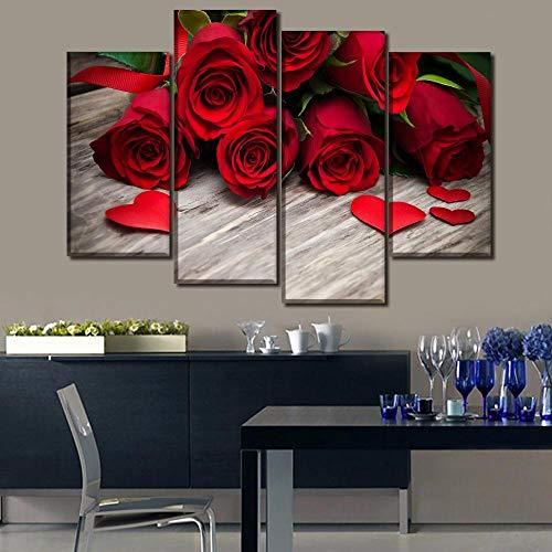 ANTAIBM® 4 Dekorative Malerei Wohnzimmer Fresko Holzrahmen - verschiedene Größen - verschiedene StileEinzigartiges Geschenk Wandbild 4 Stück rote Rosen und Herzform Blütenblätter Poster Wohnkultur Lei