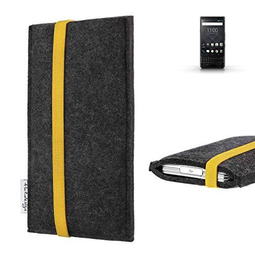 flat.design vegane Handy Tasche Coimbra für BlackBerry KEYone Black Edition - Schutz Hülle Tasche Filz vegan fair gelb