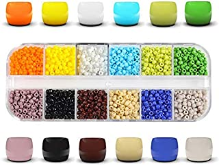 1800pcs Multicolor Glass Seed Beads,3mm Pony Beads,12 Colors Tube Beads Findings for DIY Jewelry Making