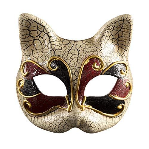 XWYZY Mscara de Halloween para nios mscara de mscaras vintage veneciano a cuadros musicales fiesta mardi gato mscara de mscaras de Halloween decoracin de fiesta de Halloween RD