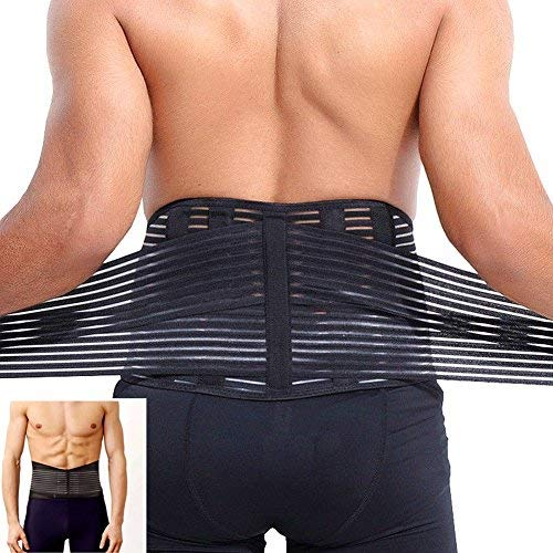 Vkaiy Lumbar Lower Back Support Brace Exercise Belt Waist Support Belt with Dual Adjustable Straps and Breathable Mesh Panels Great for Sitting Walking Sports for Men amp Women Black