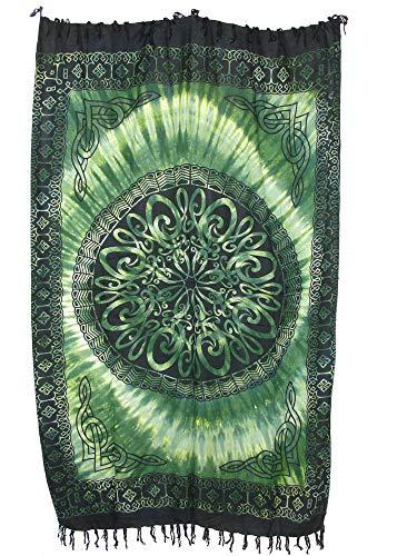 Sarong Pareo Keltisches Blumen Mandala II grün-hellgrün/große Auswahl schönste Farben/Wickelrock Strandtuch Sauna-Tuch Wickelkleid Schal Wickeltuch Bademode Freizeitmode Sommermode/aus 100% Viskose