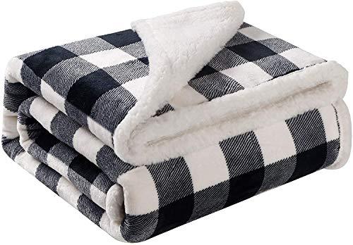 Bobor Buffalo Plaid Throw Blanket for Couch Bed, Flannel Fleece Red Black Checker Plaid Decorative Throw, Fuzzy, Plush, Soft, Cozy, Warm Blanket