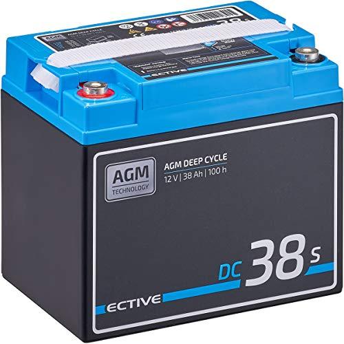 ECTIVE 38Ah 12V AGM Versorgungsbatterie DC 38s mit LCD-Display VRLA Solar-Batterie mit integrierten Nachfüllpacks