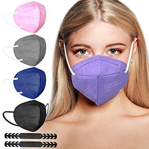 FFP2 Masken | FFP2 Maske Bunt | FFP2 Maske CE Zertifiziert | FFP2 Maske Farbig | Bunte FFP2 Masken Mundschutz | FFP2 Maske Schwarz Blau Rose Grau Lila | Gesichtsmaske Einwegmasken Einzeln Verpackt