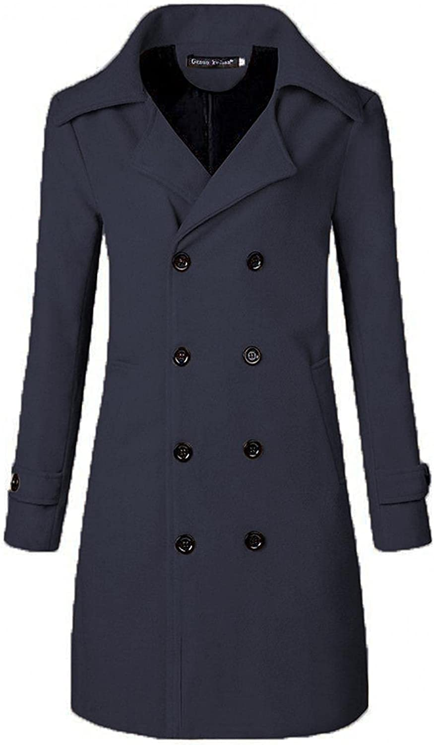 Men's Winter Trench Coat, Stylish Slim Tops Premium Notched Collar Double Breasted Jacket Parka Long Pea Overcoat