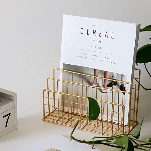 100% metal Mesh Zeitungskiosk, Buch-rack Einfache Zeitschriftenhalter Wohnzimmer Briefpapier-halter Studie Office Stifthalter Dekoration-gold 24x12cm(9x5inch)