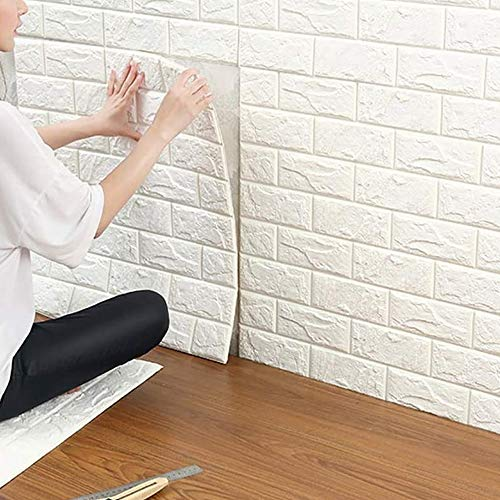ZYWW 3D Ziegelstein Tapete, Fototapete~Wandaufkleber für Schlafzimmer Wohnzimmer Moderne tv Schlafzimmer Wohnzimmer dekor,Selbstklebend Brick Muster Tapete,70 x 77 cm,Weiß,10PCS