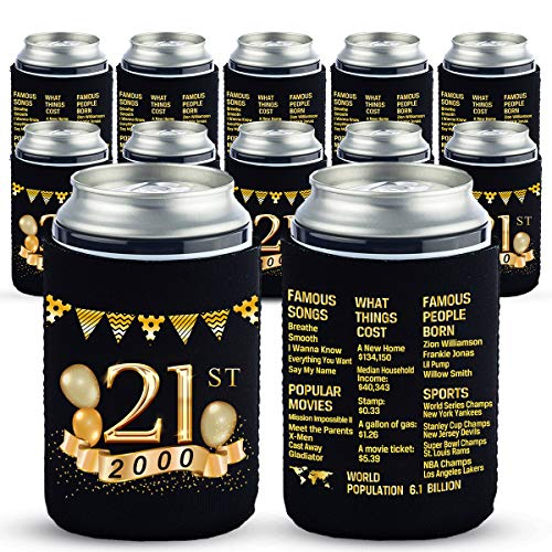 Yangmics 21st Birthday Can Cooler Sleeves Pack of 12-21st Anniversary Decorations- 2000 Sign - 21st Birthday Party Supplies - Black and Gold the Twenty-First Birthday Cup Coolers