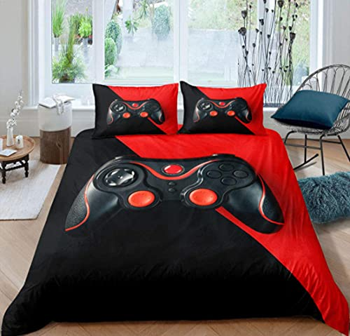 Juego de cama doble de 200 x 200 cm, juego de cama de 3 piezas, color negro y rojo