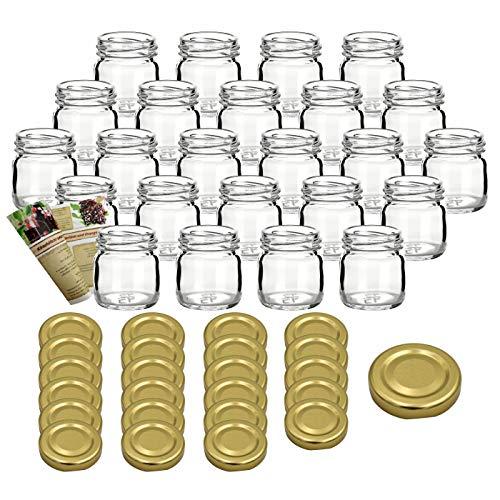 gouveo Set di 18 vasetti 'Mini' 40 ml con chiusura girevole TO 43 dorato, vasetti di stoccaggio, vassoi di marmellata, conservazione vasetti, vasi di spezia, vasi invertenti