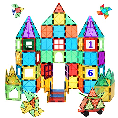 MagHub Kids Magnetic Tiles Shape with Car, 65PCS 3D Magnetic Building Blocks Set Magnet Stacking Toys Construction Playboards, Preschool Learning Educational Toy for Toddlers Children
