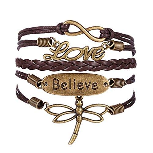 ODETOJOY braunen Libelle, Vintage Stil, Leder braun Seil Believe Love Buchstaben LOVE Armband von Wrap Leder Armbänder