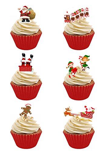 Lot de 48 moules à muffins rouges et 48 décorations en papier comestible pour gâteaux Motif Père Noël et elfe
