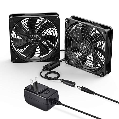 ELUTENG DC ファン 12cm 2連 静音 3段階風量調節 強力 冷却クーラー ミニファン 小型 扇風機 PC 冷却ファン...