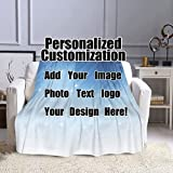 Wrenho Custom Blanket Personalized Blankets with Photo Text Throw Blankets Customized Picture Birthday Christmas Halloween New Year Mothers Fathers Valentines Day Gift for Adult Kids 50'x40'