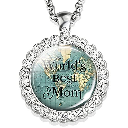 TUDUDU Regalo del Día De La Madre La Mejor Mamá del Mundo, Joyería para Mamá, Collar con Colgante De Diamantes De Imitación, Collar para Mamá E Hija, Longitud 48 Cm