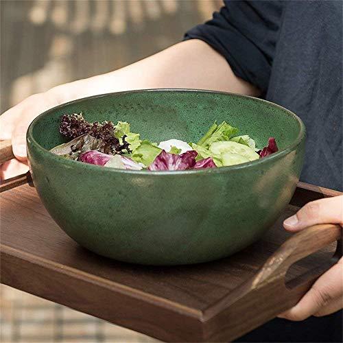 DJY-JY Ensaladera de gran capacidad para ensalada, tazón de mezcla de sopa Ramen fideos, tazón de fuente de servir de cerámica creativa vajilla apta para microondas de 8.9 pulgadas, verde oliva