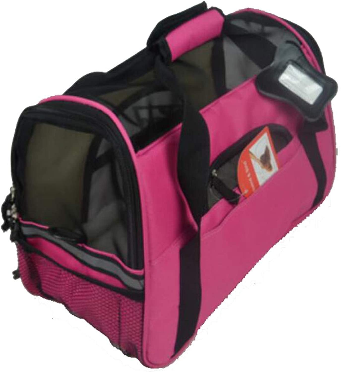 Pet Bag, Travel Carrier Dog Cat   Puppy Portable Folding Bag with Lamb Velvet Pad, pink Red (Size   37  19  25CM)