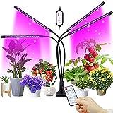 Freshtour Pflanzenlampe LED Pflanzenlicht 4 Heads 80LEDs Vollspektrum LED Grow Lampe Light 360° Einstellbar Pflanzenleuchte mit Zeitschaltuhr Fernbedienung Wachstumslampe für Zimmerpflanzen Bonsai